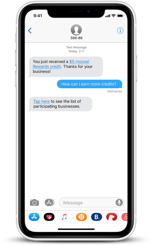 Step 4 - Rider receives SMS notification when their purchase triggers a transportation credit reward