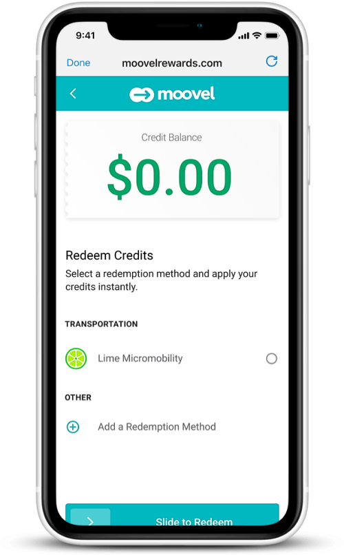 Step 5 - Rider redeems transportation credit with the mobility option of their choice